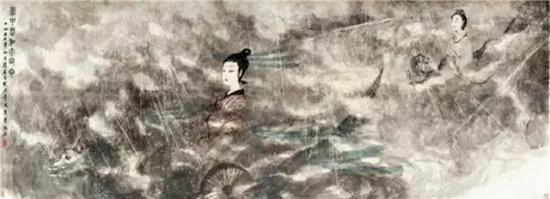 傅抱石云中君和大司命114×315cm 设色纸本1954年