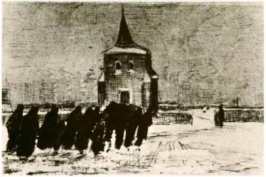 雪地里老塔附近的葬礼