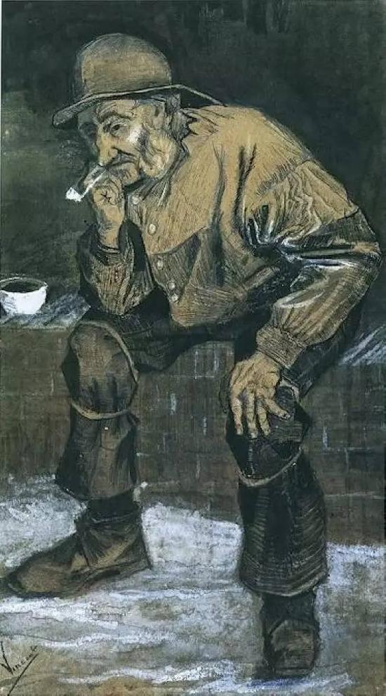 坐着抽烟的渔民