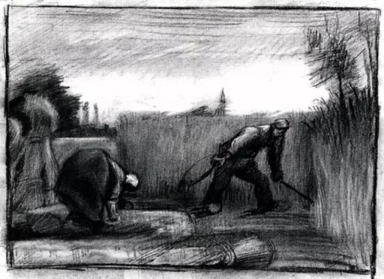 收割者和弯腰的农妇
