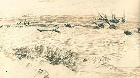 沙滩,大海和渔船