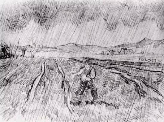 有围栏的麦田和雨中播种的人