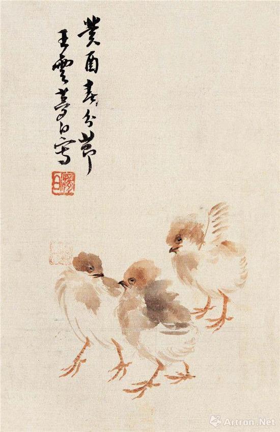 王梦白 雏鸡图 17.8cm×27.4cm 1933 荣宝斋藏
