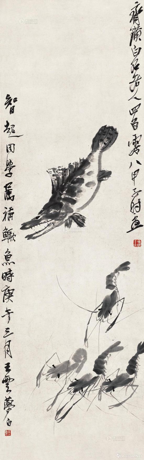 王梦白、齐白石《鱼虾》109×33.7cm 1924年作、1930年作
