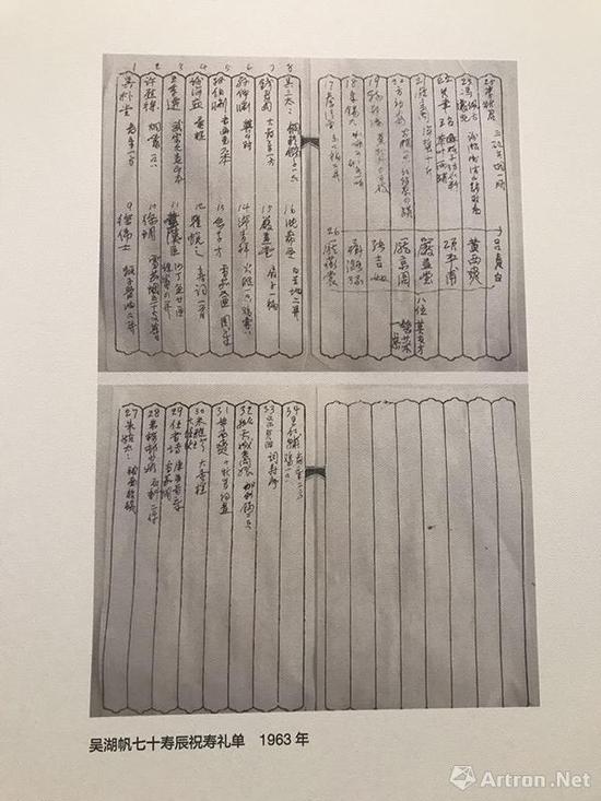 ▲吴湖帆七十寿辰祝寿礼单
