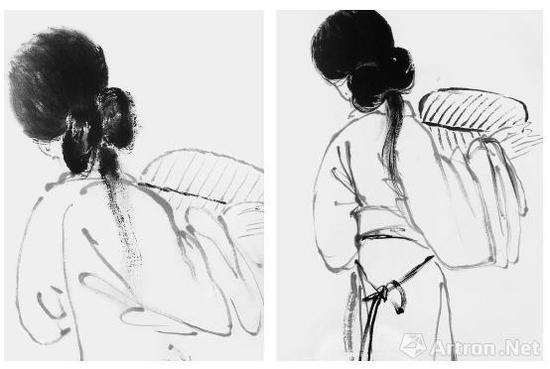 王梦白(左)与齐白石(右)《背面仕女图》对比