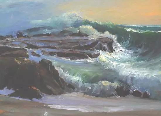 大海岩石海浪海景