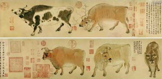 韩滉《五牛图》,故宫博物院藏