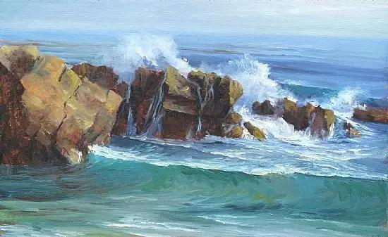 海浪风景油画