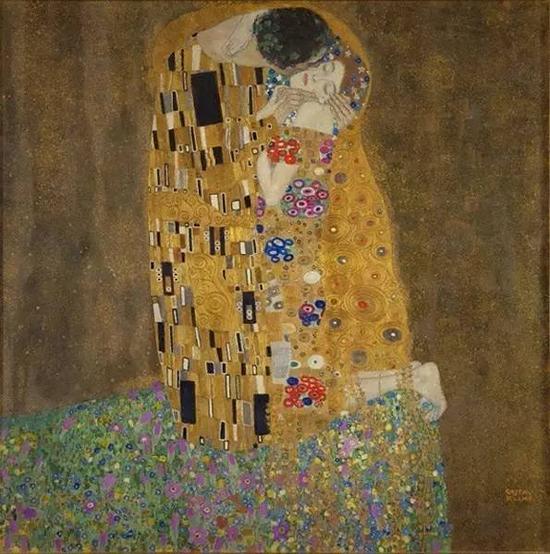 古斯塔夫?克里姆特,《吻》,1908年, 现藏于奥地利美景宫美术馆(?sterreichische Galerie Belvedere)。图片:Getty Images
