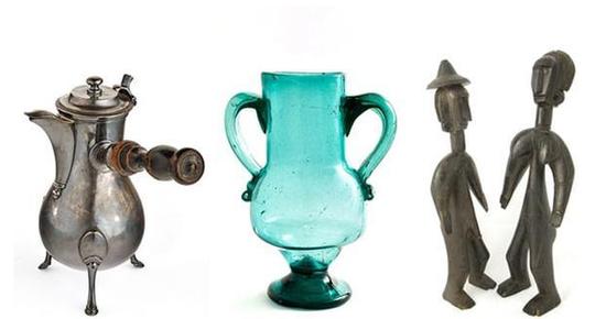 亨利马蒂斯收藏的银质咖啡壶、安达卢西亚的玻璃瓶以及马里的巴马那人像