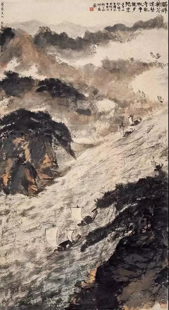 乱帆争卷夕阳来,1943年1月,106×57.5cm