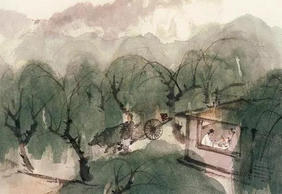 王维《渭城曲》诗意,27.9×40