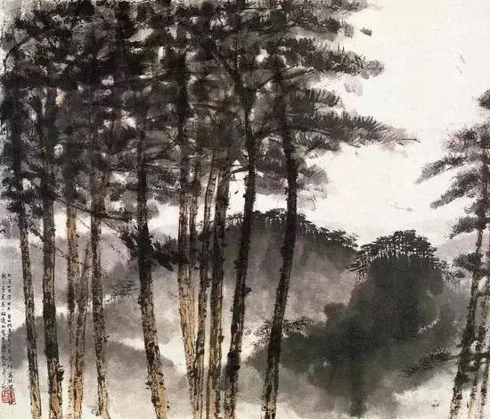 车行高处风景,1957年,48.6×57.2cm
