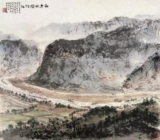 和平的图们江,1961年,50×57cm