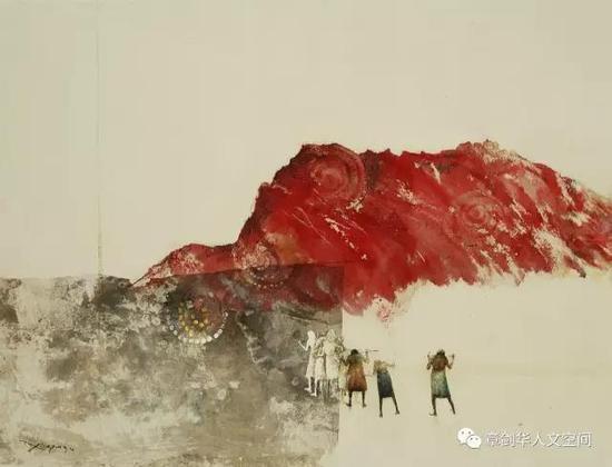 跨越(2016)墨,油彩,宣纸,布面 91 x 132cm