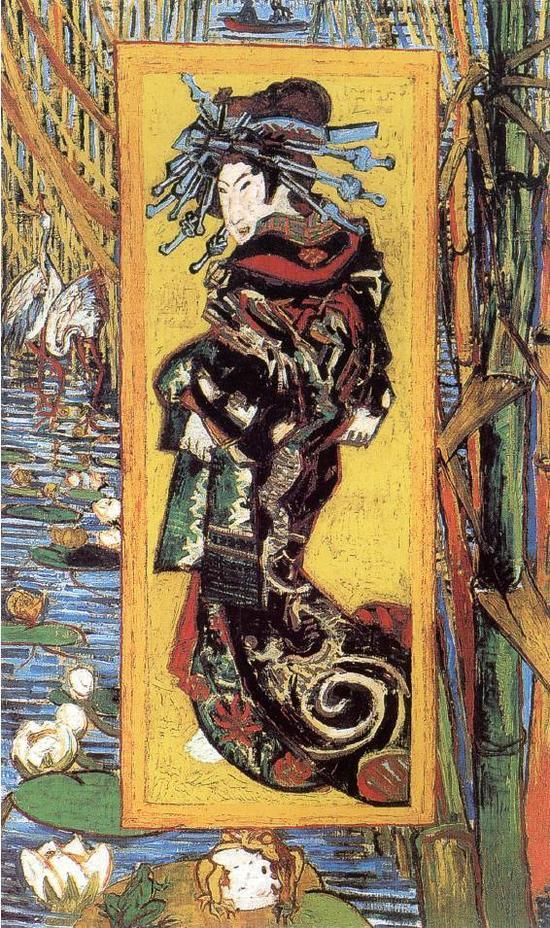 梵高《花魁》临摹日本浮世绘画家溪斋英泉的作品