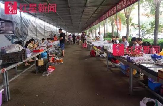 河北娄村镇,一个麻核桃市场,核农们摆摊做生意