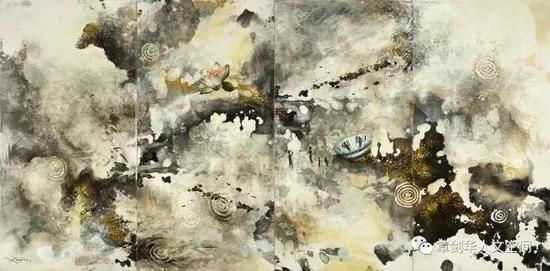 梦幻之地(2014)墨,丙烯,宣纸,布面 137 x 278cm