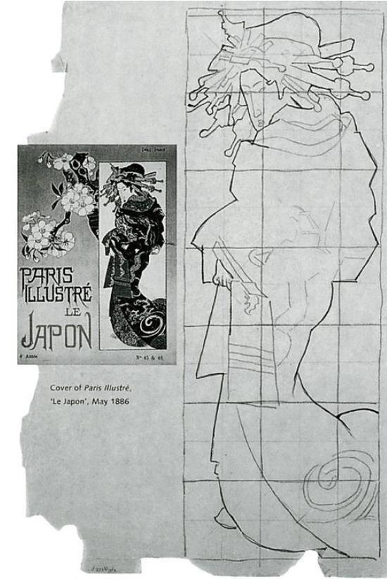 左是1895 年5 月《巴黎画刊》封面上日本溪斋英泉的版画《花魁》,右是凡高拓写稿。