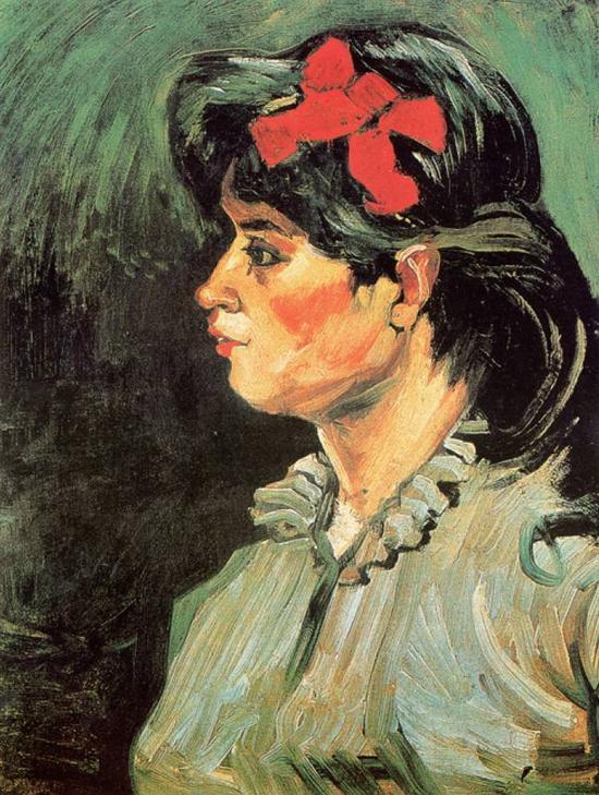 凡高《咖啡馆女郎侧面像》,1885 年作。这幅画也是传统欧洲油画式,只是比他以前的作品亮一点而已。