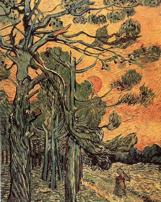 梵高《松林夕照》,1889 年12月作。