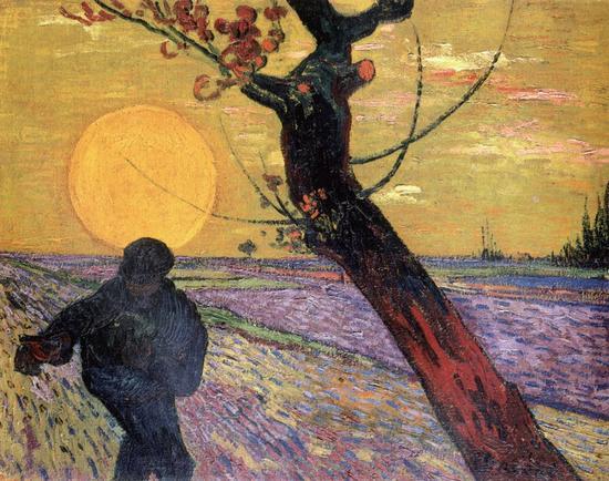 """梵高《夕阳· 梅树· 播种》,1888年11 月作。这幅画中的梅树、夕阳显然来自""""浮世绘""""。"""