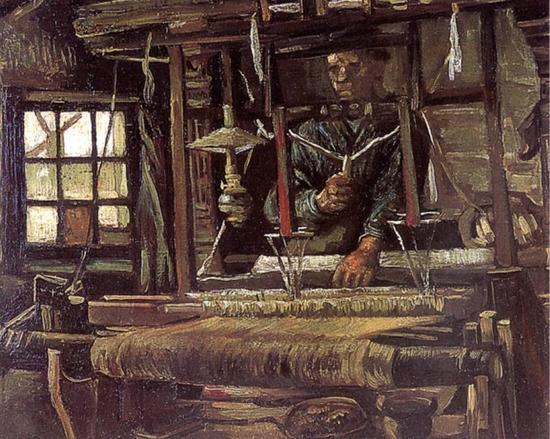 凡高《织工》,1884 年作。凡高早期的作品也是传统的欧洲油画样式,没有任何特殊之处,这种绘画作品当然无人收藏。