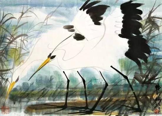 林风眠 《秋鹭》49cm×69.5cm纸本设色1975年上海中国画院收藏