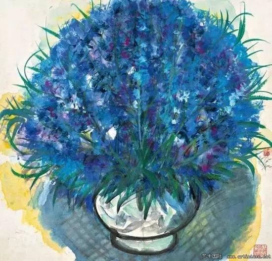 林风眠 《蓝色花》66cm×67cm纸本设色1964年上海中国画院藏