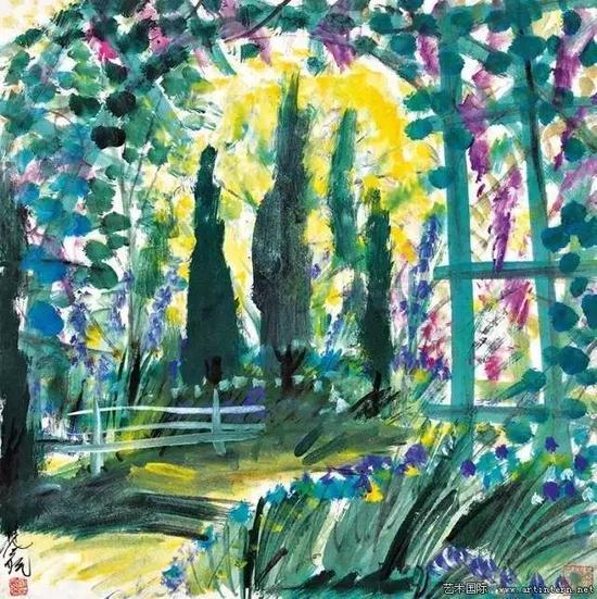 林风眠 《春天》66.5cm×67cm纸本设色20世纪40年代上海中国画院藏