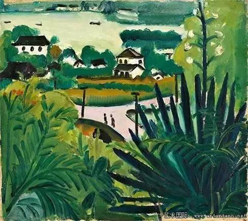 关紫兰 《西湖风景》52cm×58cm布面油画1929年