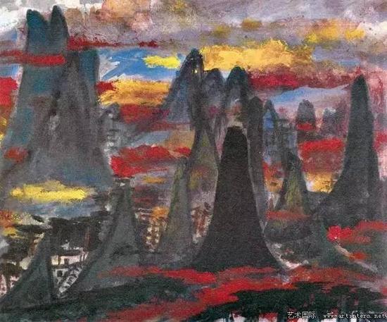 林风眠 《黄山》41.5cm×51cm纸本彩墨1978年私人收藏