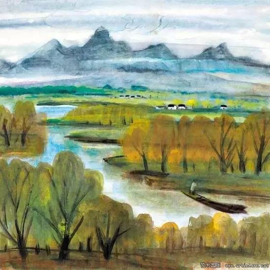 林风眠 《江南》65cm×65cm纸本设色1961年上海美术家协会藏