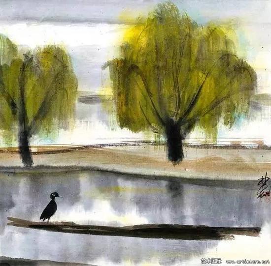 林风眠 《独立》33cm×33cm纸本设色20世纪50年代中华艺术宫藏