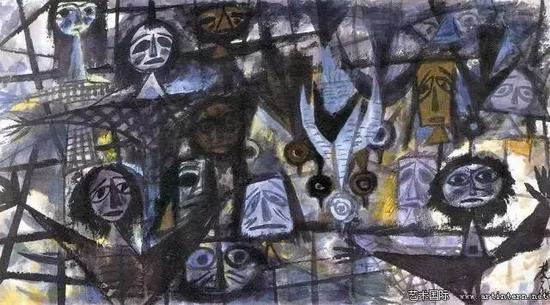 林风眠 《噩梦》83.3cm×150.5cm纸本彩墨1989年私人收藏
