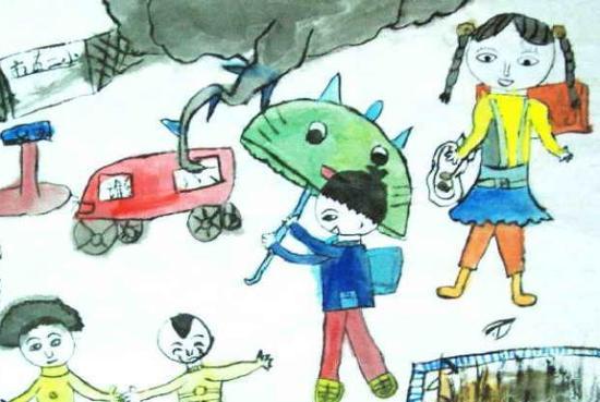 儿童画《上学图》