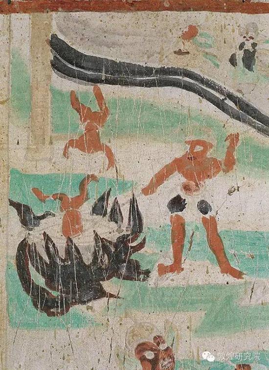 榆林窟第33窟-镬汤地狱-五代。壁画解读:镬汤地狱,即以锅镬煮沸汤,把罪人投入沸汤中,以惩罪人生前罪行的地狱。