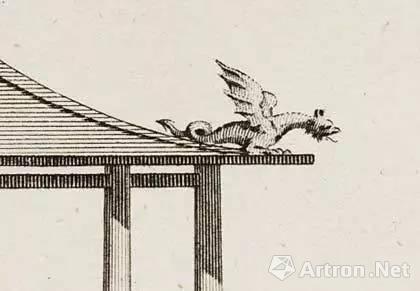 钱伯斯手绘设计稿中的龙形脊饰,来源:Culture24