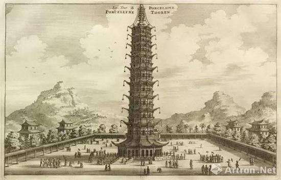 Johan Nieuhof 所画的大报恩寺琉璃塔,1665年,来源:维基百科。