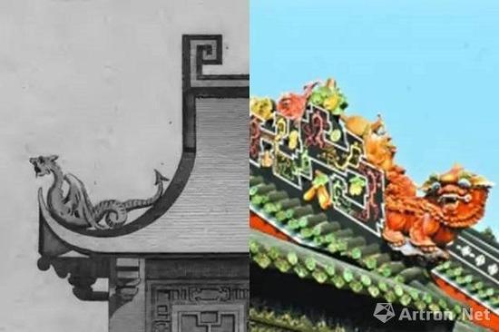 钱伯斯龙形脊饰(左)与广州陈家祠屋脊灰塑(右)对比