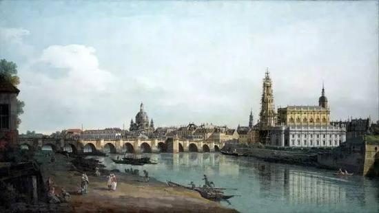 意大利著名画家Bernardo Bellotto在1748年完成的油画《自易北河右岸奥古斯特桥下看德累斯顿》。