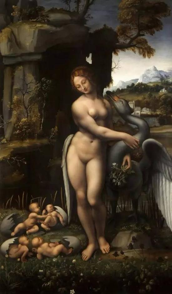 学生临摹的达·芬奇作品《丽达与天鹅》