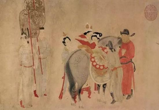 元 钱选贵妃上马图(局部)华盛顿弗瑞尔美术馆藏