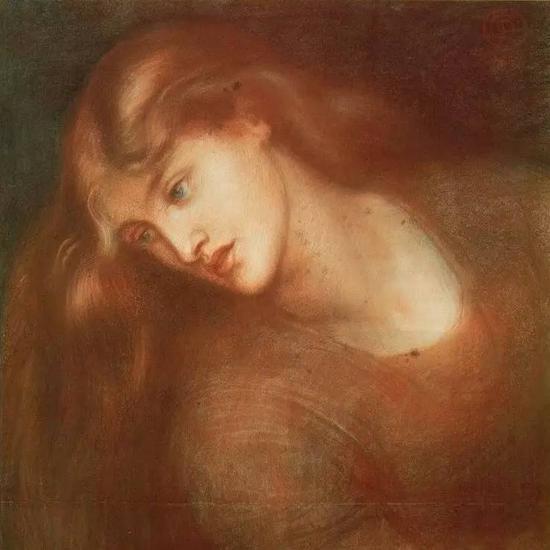 但丁·加百利·罗塞蒂《美杜莎的容貌》约1867,彩色粉笔画
