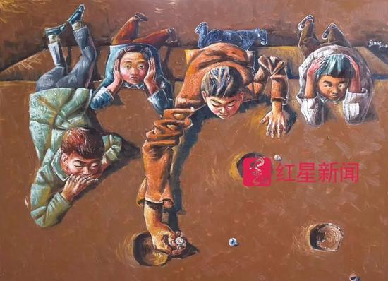 ▲熊庆华近期作品《弹玻璃球》 图片来源:红星新闻