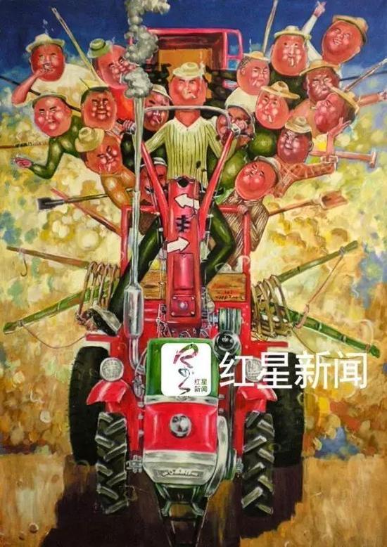 ▲熊庆华的画作《红色法拉利》 图片来源:红星新闻