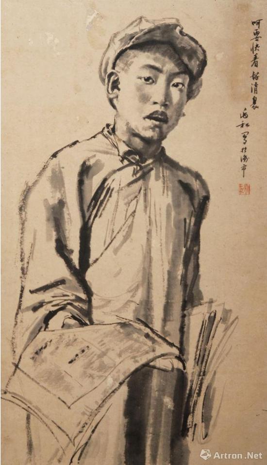 《呵,要快看好消息(卖报)》83X49cm 1936年 泸州博物馆藏