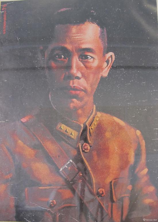 1933年,蒋兆和为抗日将军蔡廷锴绘油画像