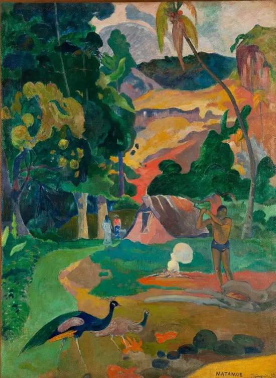 保罗·高更,《有孔雀的风景》,1892布面油画115×86cm现藏于普希金国家美术博物馆